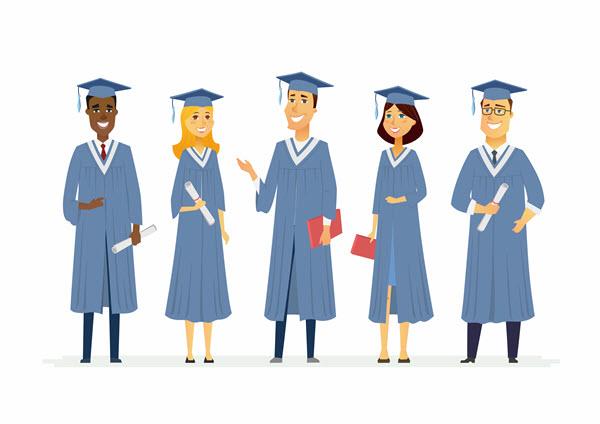 Graduates in cap & gowns